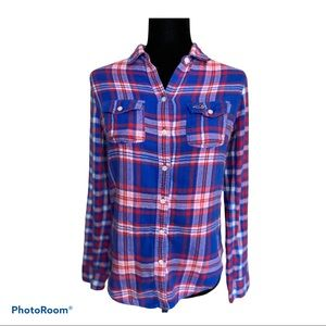Hollister blue and red flannel button down shirt